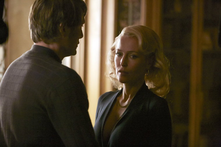 "HANNIBAL -- ""Dolce"" Episode 306 -- Pictured: (l-r) Mads Mikkelsen as Hannibal Lecter, Gillian Anderson as Bedelia Du Maurier -- (Photo by: Ian Watson/NBC)"