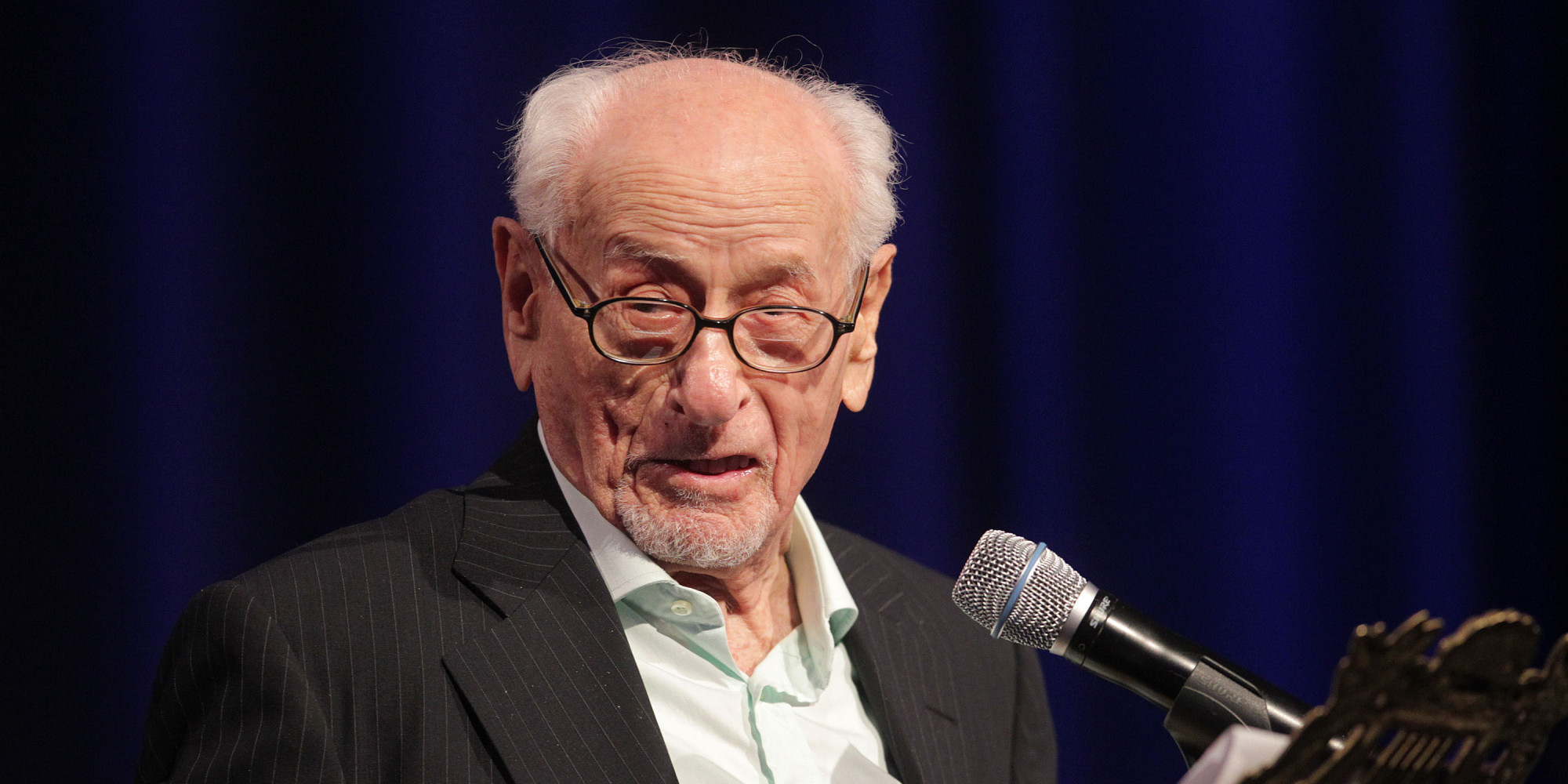 LOS ANGELES, CA - NOVEMBER 14: Actor Eli Wallach speaks during the Museum of Tolerance International Film Festival Gala on November 14, 2010 in Los Angeles, California. (Photo by Frederick M. Brown/Getty Images)